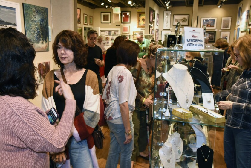 Art Night shoppers in February 2020 at the San Dieguito Art Guild's Off Track Gallery.