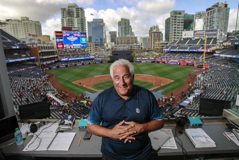SAN DIEGO, April 8, 2017 | Padres radio announcer Ted Leitner in the Padres home radio booth at Petc