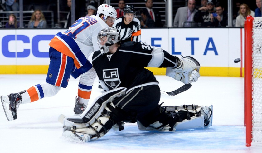 New York Islanders right wing Kyle Okposo scores against Kings goaltender Jonathan Quick in a Nov. 6 shootout at Staples Center.
