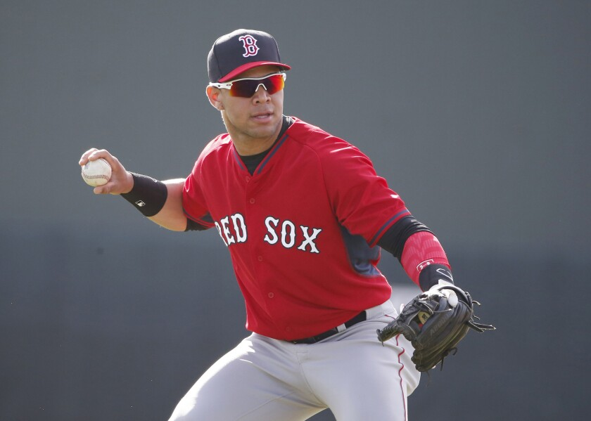 Red Sox infielder Yoan Moncada practices during spring training on March 13, 2015.