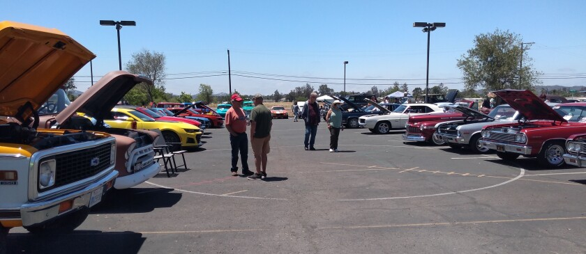 Cars and motorcycles filled the parking lot of Grace Community Church during the Ramona Senior Center Car Show.