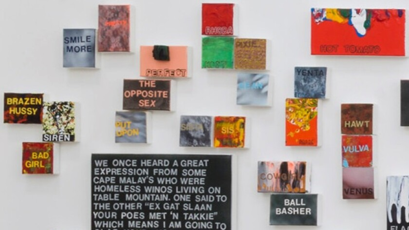 Betty Tompkins' show at Gavlak includes 1,000 paintings she created after asking people to email terms describing women.
