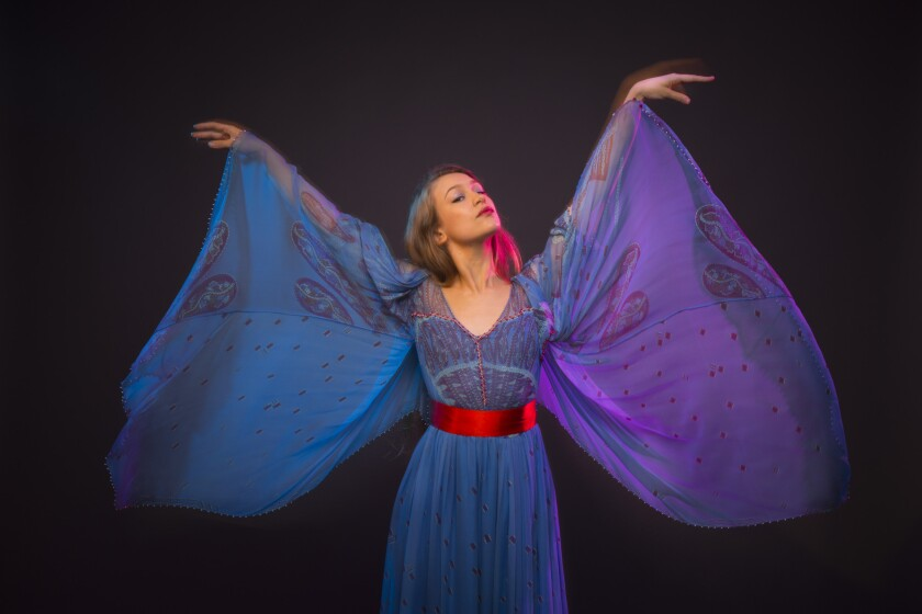 """Harpist and singer-songwriter Joanna Newsom is photographed in advance of her new album, """"Divers,"""" in the Los Angeles Times studio in downtown Los Angeles."""