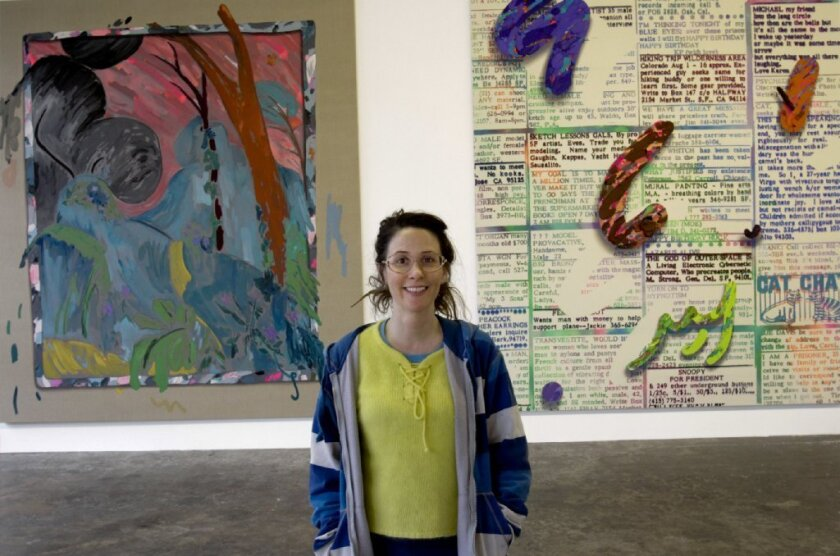 Laura Owens at an exhibition of her work in Boyle Heights in March.