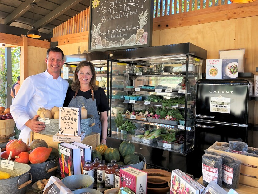 Golden Door spa executive chef Greg Frey Jr. and general manager Kathy Van Ness at the Golden Door Country Store.