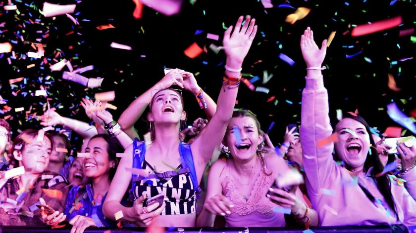 INDIO, CA-April 13, 2019: Fans go wild during a performance by Tame Impala during day 2 at the Coach