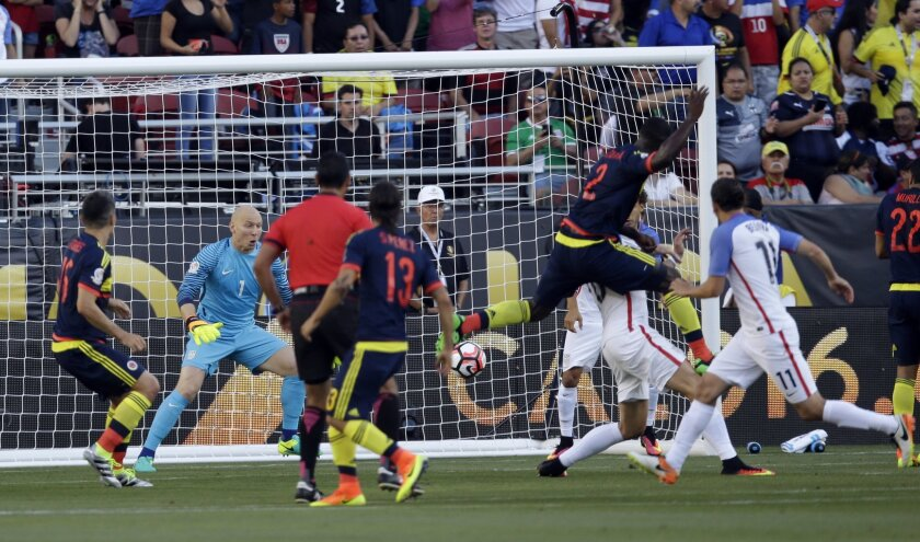 Colombia scores their first goal in a Copa America Centenario Group A soccer match against the U.S. at Levi's Stadium in Santa Clara, Calif., Friday, June 3, 2016. (AP Photo/Marcio Jose Sanchez)