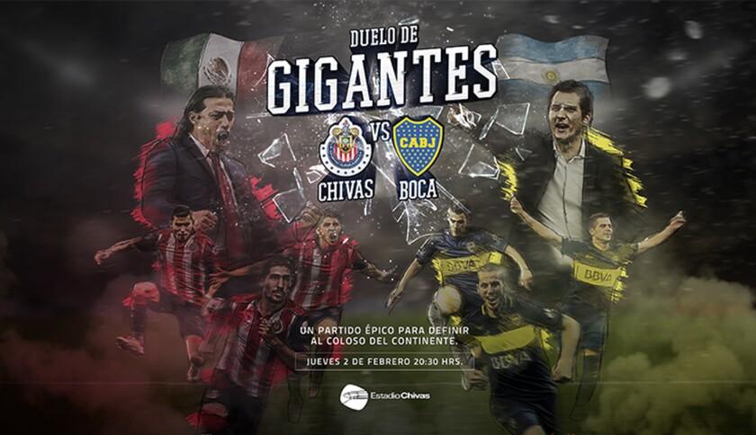 El cartel oficial del choque Chivas vs Boca, dos equipos históricos.