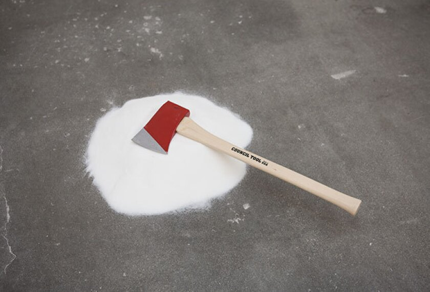 """Darren Bader, """"sugar and/with axe,"""" dimensions variable"""