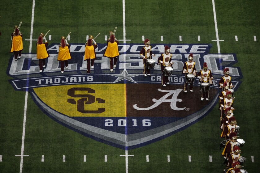 The USC Trojan Marching Band performs before the Trojans take on the Alabama Crimson Tide in the AdvoCare Classic at AT&T Stadium on September 3, 2016 in Arlington, Texas.