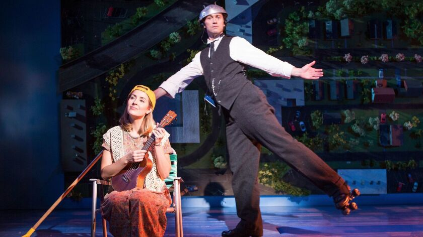 "Hannah Elless and Bryce Pinkham in the Old Globe Theatre's ""Benny & Joon."""