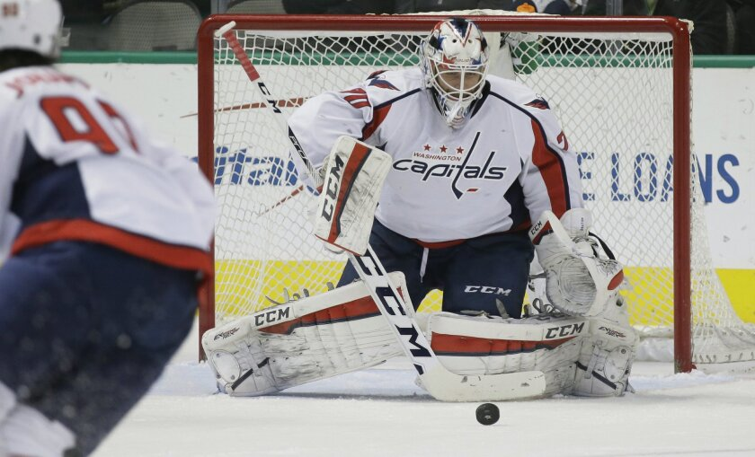 Washington Capitals goalie Braden Holtby watches the puck during the first period of an NHL hockey game against the Dallas Stars on Saturday, Feb. 13, 2016, in Dallas. (AP Photo/LM Otero)
