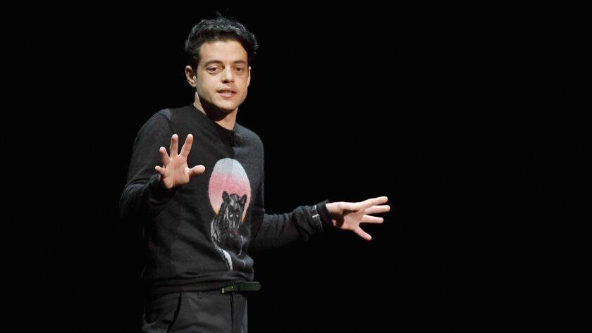 "Rami Malek talks about portraying Freddie Mercury in ""Bohemian Rhapsody"" at CinemaCon this week."