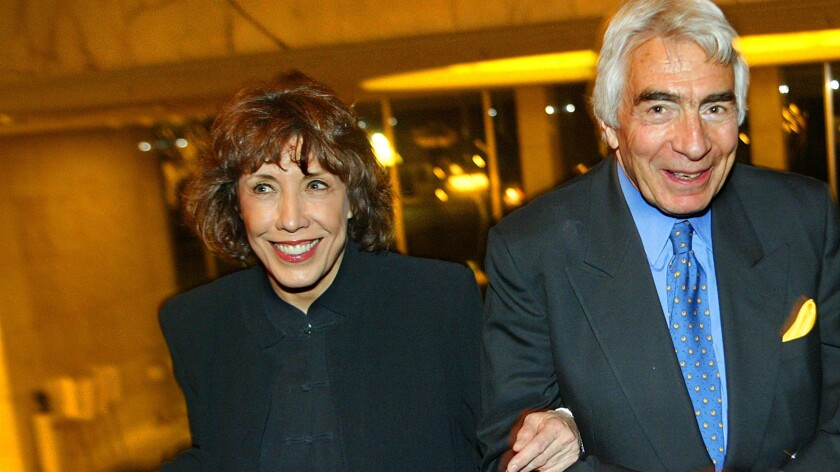 """Davidson with Lily Tomlin, star of """"The Search for Signs of Intelligent Life in the Universe,"""" after opening night in 2003."""
