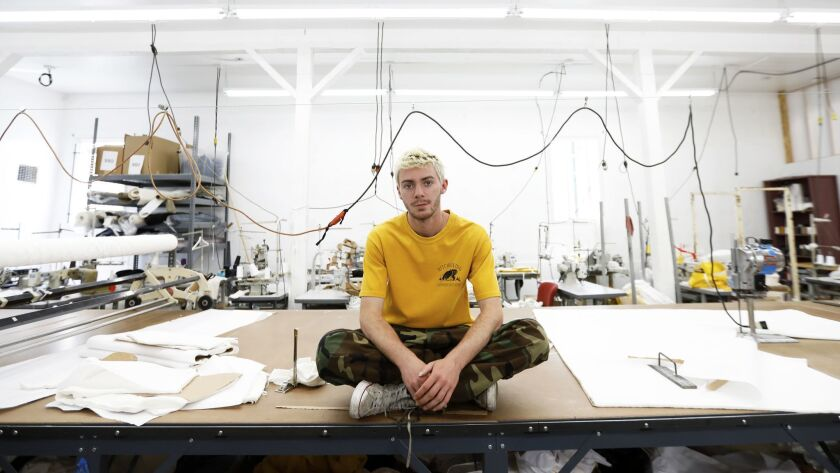 Fashion designer/multimedia storyteller Reese Cooper at the Giannetti Factory in the Glassell Park neighborhood of Los Angeles in May.