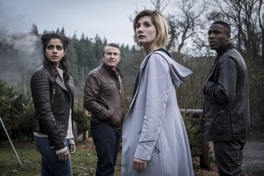 """Mandip Gill, left, Bradley Walsh, Jodie Whittaker and Tosin Cole are the current heroes of """"Doctor Who."""""""