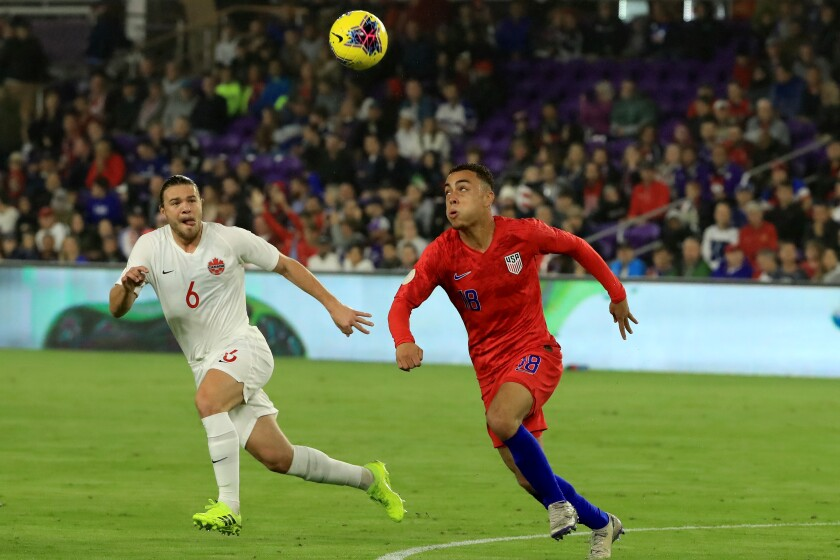 Sergiño Dest controls the ball during a game against Canada Nov. 15, 2019, in Orlando.