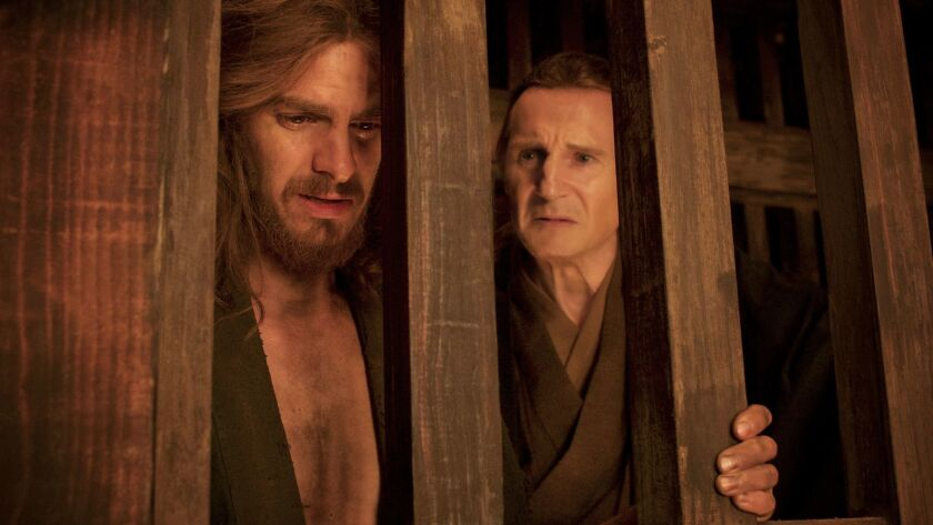 """Andrew Garfield as Father Sebastião Rodrigues and Liam Neeson as Father Ferreira in the film """"Silence."""""""