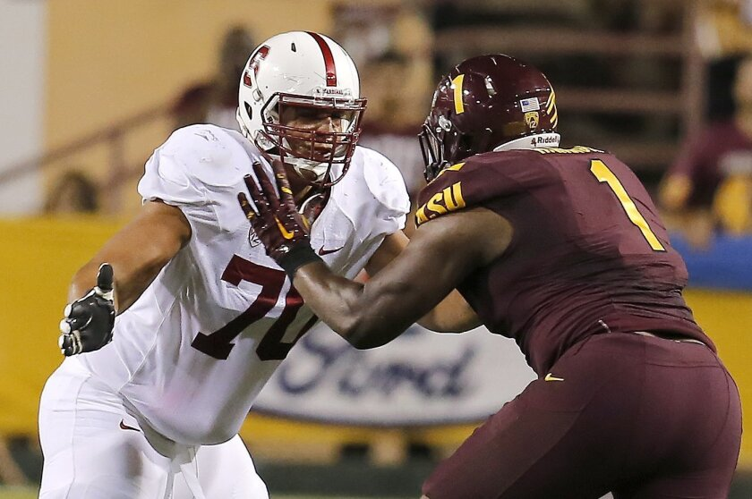 Drafting Stanford's Andrus Peat at No. 17 would help solidify the Chargers offensive line by allowing D.J. Fluker to move inside to play guard.