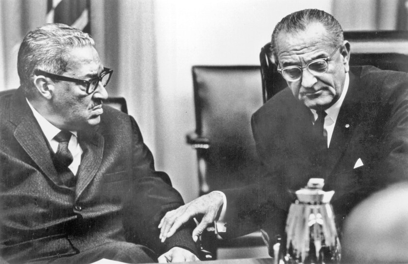 Thurgood Marshall, left, was nominated for the U.S. Supreme Court by President Lyndon B. Johnson.