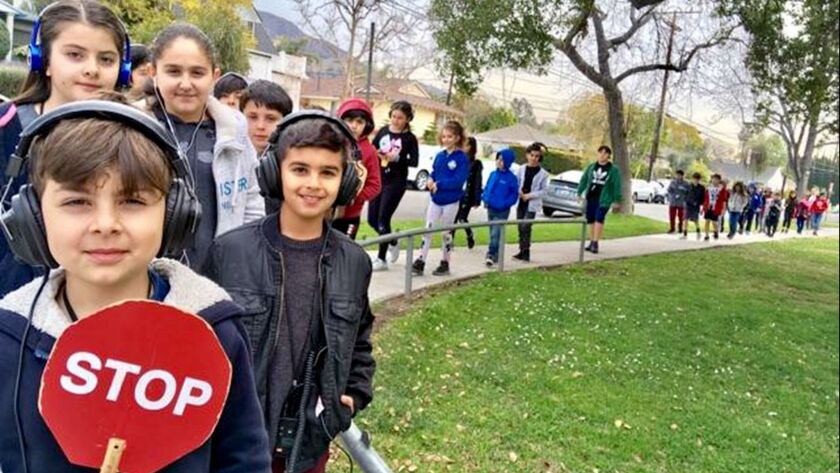 Students from Adriana Smith's 4th grade class at Balboa Elementary in Glendale participate in the