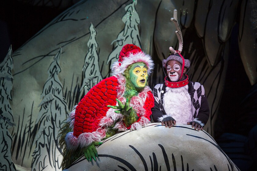 """J. Bernard Calloway (left) and Tyrone Davis Jr. in the Old Globe's """"Dr. Seuss' How the Grinch Stole Christmas!'"""