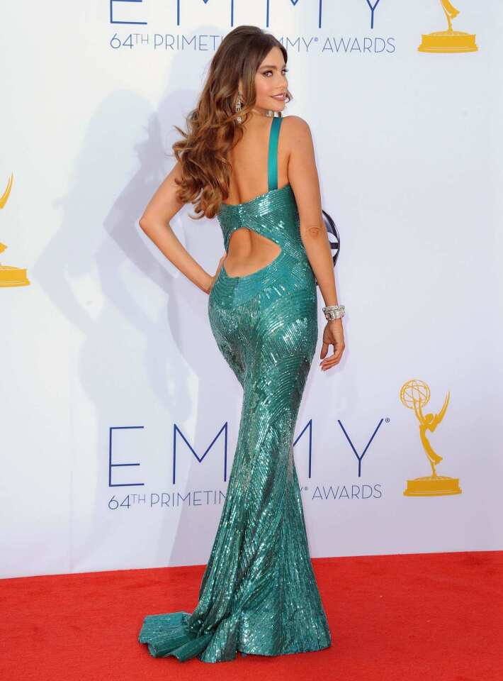 With halter straps, cutouts and shimmery details, Sofia Vergara's mermaid gown by Zuhair Murad had too much going on -- even though the teal color was spectacular.