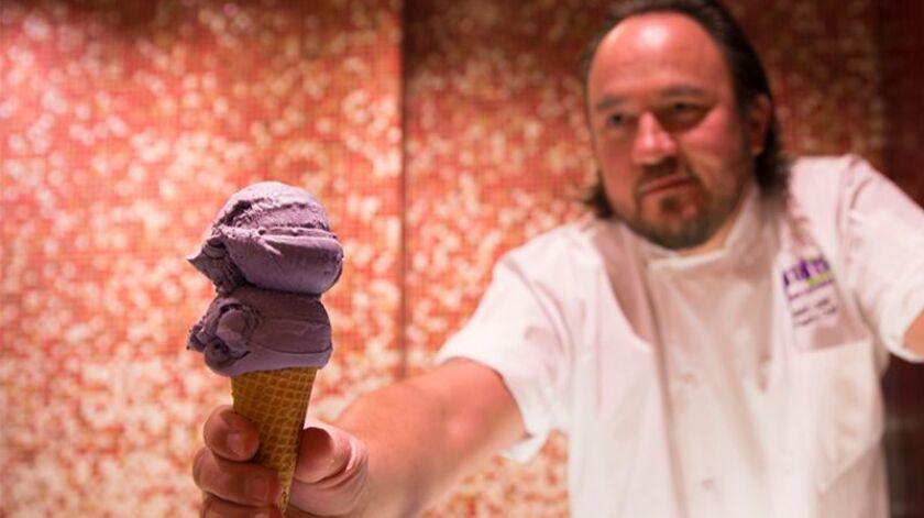 A Royal Ube gelato cone from the buffet at Harrah's Resort SoCal.
