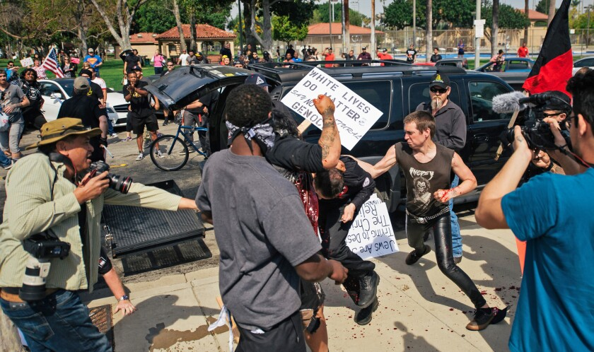 KKK rally in Anaheim turns violent