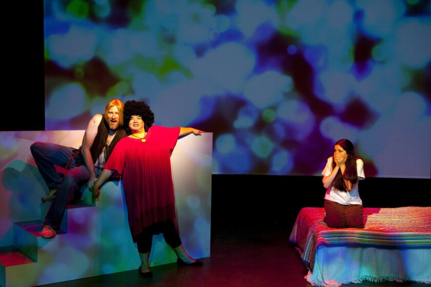 """Jacob Bruce, Cassie Benavidez and Hannah Rose Kornfeld (left to right) in Mo`olelo Performing Arts Co.'s """"26 Miles."""""""