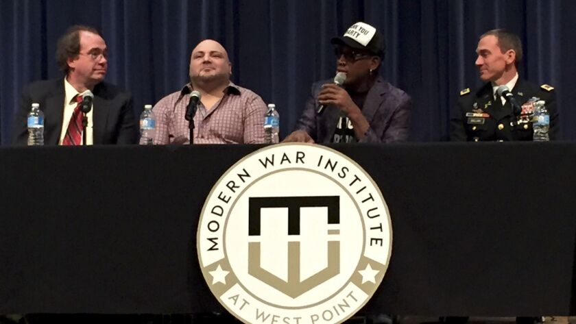 Dennis Rodman, second from right, speaks during a panel session held Friday at the United States Military Academy at West Point.