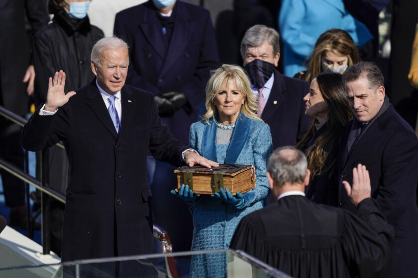 U.S. President-elect Joe Biden takes the oath of office