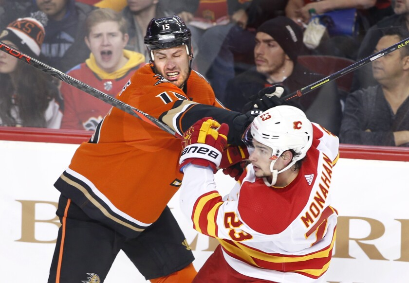 Ducks center Ryan Getzlaf collides with Flames center Sean Monahan during the third period of a game Feb. 17.