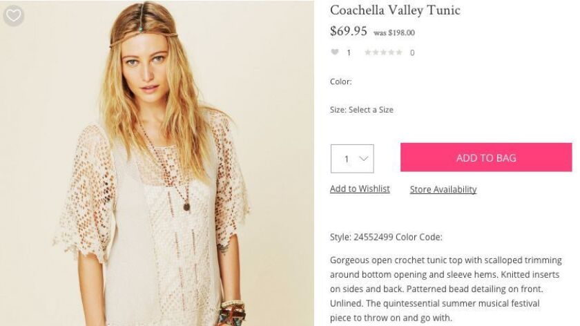 The Coachella Valley Tunic being sold on Free People's website was pointed out by Coachella as an item infringing on the music festival's brand.