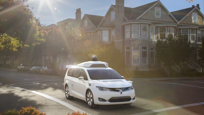 "Waymo has deployed driverless Chrysler Pacifica minivans in Arizona and plans a commercial robot car ride-hailing service there later this year. Such a service ""eventually"" will be offered in California, Waymo said."