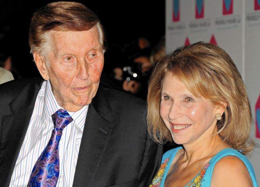 The Redstone family controls nearly 80% of the voting stock in Viacom and CBS. Above, Sumner Redstone, left, with his daughter Shari Redstone, who is vice chairman of Viacom and CBS.