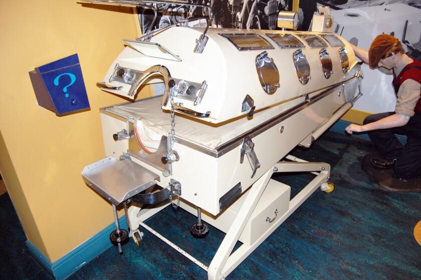 An iron lung exhibit.