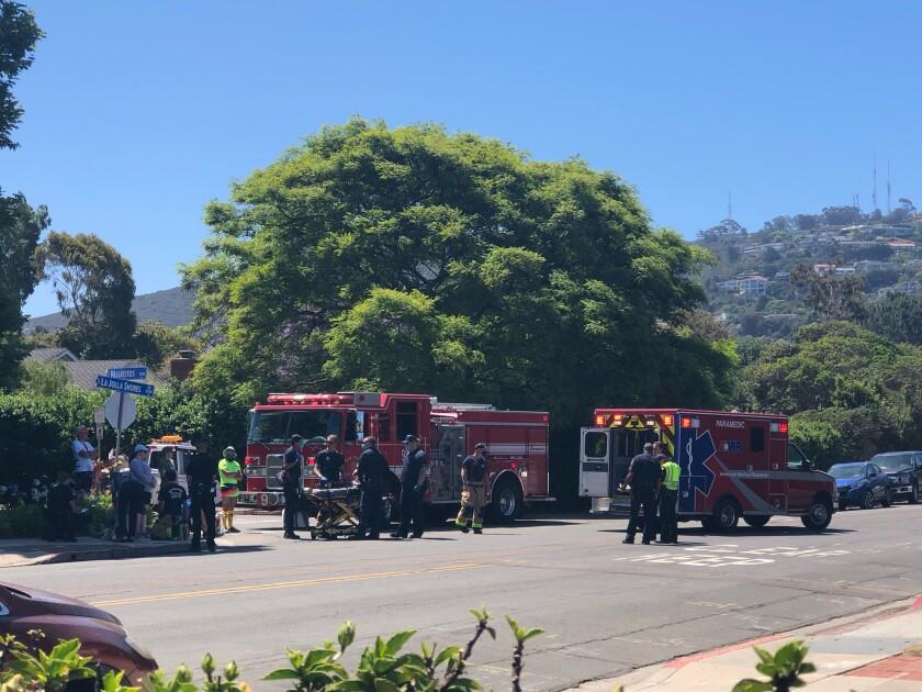 Fire crews respond to a June 13 crash involving a vehicle and three pedestrians at La Jolla Shores Drive and Vallecitos.