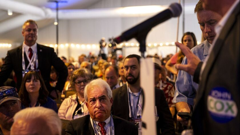 A delegate speaks at the 2018 California Republican Party Convention and Candidate Fair in San Diego, Calif. on May 6.