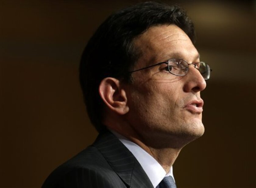House majority leader Eric Cantor, of Va., speaks at the John F. Kennedy School of Government at Harvard University, in Cambridge, Mass., Monday, March 11, 2013. (AP Photo/Steven Senne)