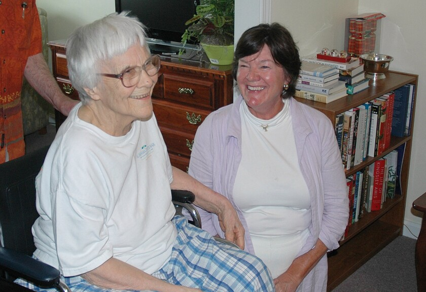 "Harper Lee, left, seen in 2010 at her assisted living facility in Monroeville, Ala., with actress Mary Badham, who played Scout in the 1962 film adaptation of ""To Kill a Mockingbird."""