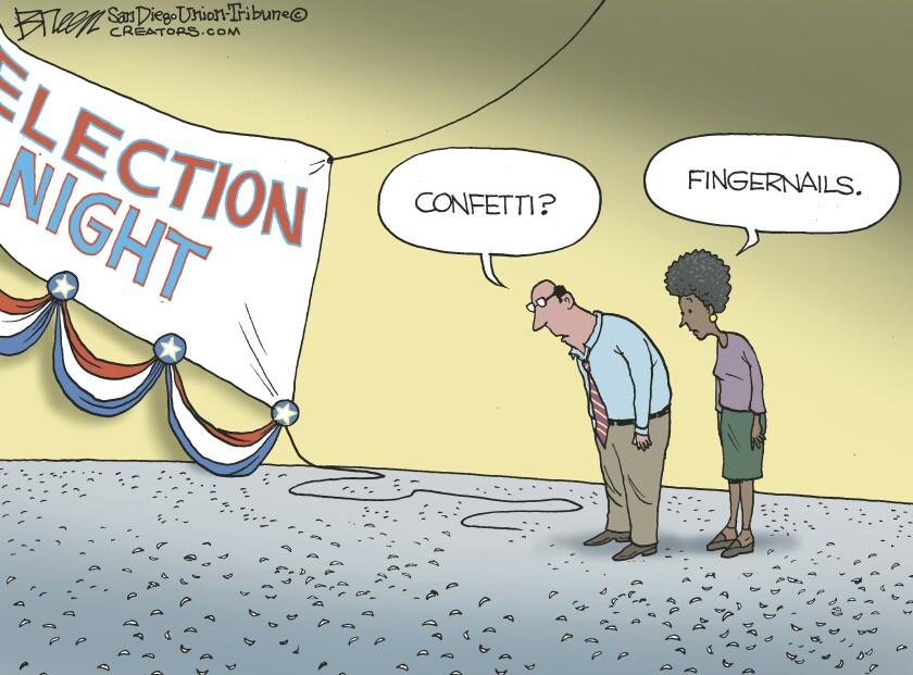 In this Breen cartoon, fingernails look like confetti on the ground after election night.