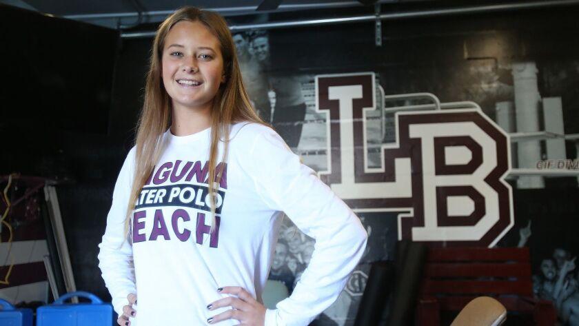 Morgan Van Alphen of Laguna Beach girls' water polo is the High School Female Athlete of the Week. V