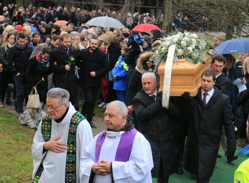 A moment of Giulio Regeni's funeral in Fiumicello, Northern Italy, Friday, Feb. 12, 2016. Premier Matteo Renzi, in remarks on Italian state radio, was keeping up the political pressure on the Egyptian government to find and bring to justice whoever tortured and killed Giulio Regeni, who had been li