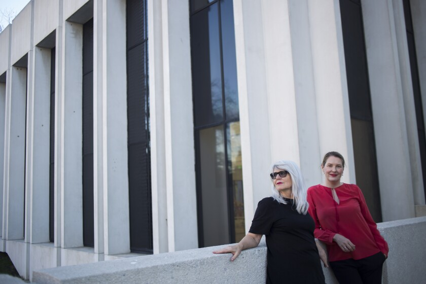 Monika Sprüth, left, and Philomene Magers outside Sprüth Magers in Los Angeles.