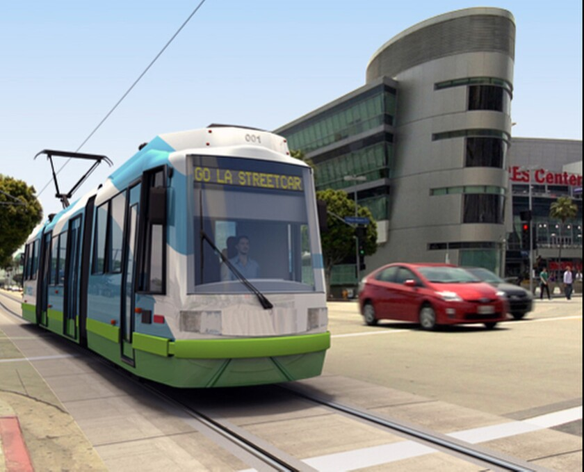 An illustration released by Los Angeles Streetcar, Inc. shows the proposed new rail car for downtown Los Angeles.