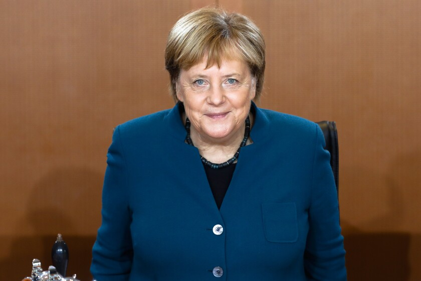 German Chancellor Angela Merkel arrives for the weekly cabinet meeting of the German government at the chancellery in Berlin, Germany, Wednesday, Nov. 6, 2019. (AP Photo/Markus Schreiber)