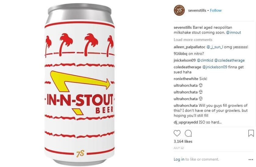 "On Instagram, the craft beer maker Seven Stills shared an image of its experimental batch labeled ""In-N-Stout"" and it attracted a cease and desist letter from the burger chain In-N-Out over trademark infringement."
