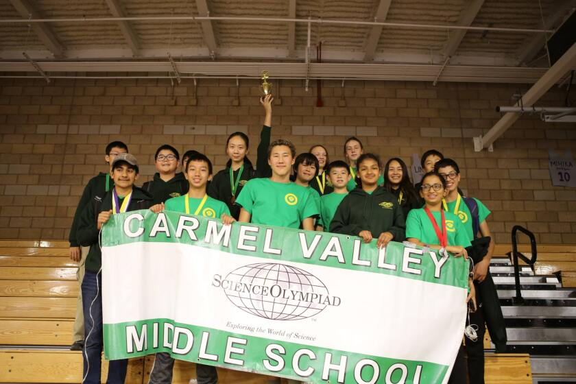 The Carmel Valley Middle School students placed third at the Jeffrey Trails Science Olympiad competition.
