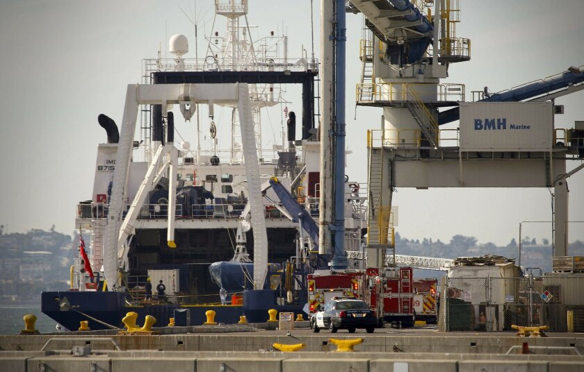 A two-alarm fire confined to the research ship Dorado Discovery, docked at the 10th Avenue Marine Terminal in Barrio Logan was reported about 2:30 p.m., and contained by 3 p.m. No injuries were reported according to the San Diego Fire-Rescue Department.